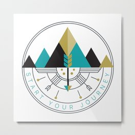 Start Your Journey Badge Metal Print