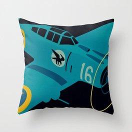 Swedish EP-106 airplane poster ShreddyStudio Dennis Weber Throw Pillow