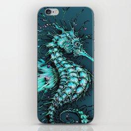 Cyan Seahorse iPhone Skin