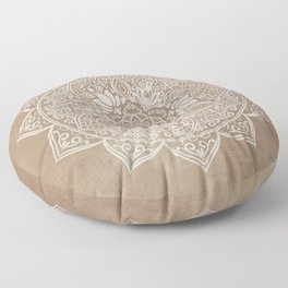 Mandala Brown Beige Creamy Pattern Floor Pillow