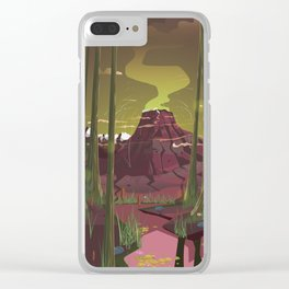Erupting Volcano in the Swamp Cartoon Clear iPhone Case