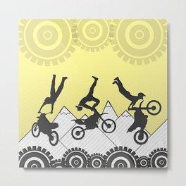Sunbeam Yellow Motocross Mountain Stunt Rider Metal Print