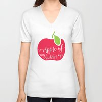 """onesie V-neck T-shirts featuring """"Apple of My Daddy's Eye"""" Onesie by Spilling Beans"""
