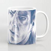 spock Mugs featuring Spock by Emma Shepherd