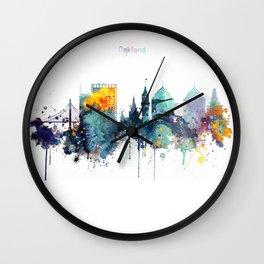 Oakland California Blue  skyline print Wall Clock