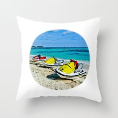 Fun time at ocean Throw Pillow