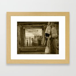 Sepia of Early Morning Harbor viewed through a Window with Fishing Boat, Gulls and Fishing Bouys Framed Art Print