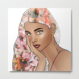 She Had Flowers In Her Hair Metal Print