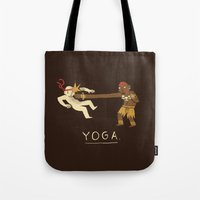 yoga Tote Bags featuring yoga. by Louis Roskosch