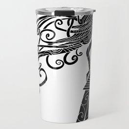 Long hair woman silhouette Travel Mug