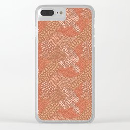 Brush Strokes Abstract Pattern, Brick with Coral and Tan Clear iPhone Case