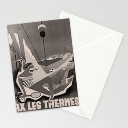retro dark Ax Les Thermes old psoter Stationery Cards