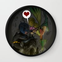 bats Wall Clocks featuring Bats by Kaan Demircelik