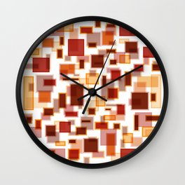 Red Abstract Rectangles Wall Clock