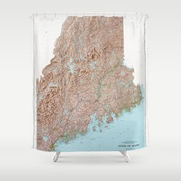 State of Maine Map (1977) Shower Curtain