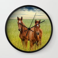blues brothers Wall Clocks featuring brothers by lucyliu