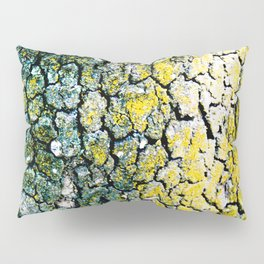 Yellow and Green Spotted Abstract Pigmented Tree Bark Print Pillow Sham