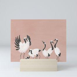Crane Dance - Mauve Pink Mini Art Print