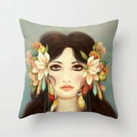 caleb troy Throw Pillows featuring Helen of Troy by Maribellum