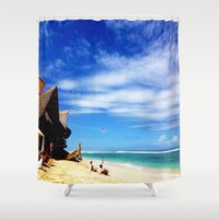 indonesia Shower Curtains featuring BALI, Indonesia  by BRIELLE LEVY