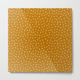 Yellow Ochre Boho Lines Handmade Mud Cloth Metal Print