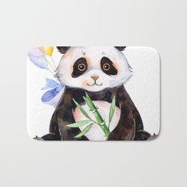 White Panda Watercolors Illustration Bath Mat