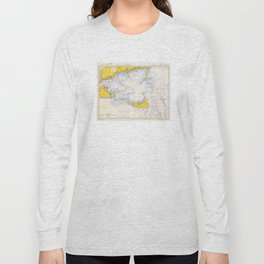 Vintage Map of The Nantucket Sound (1966) Long Sleeve T-shirt