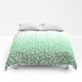 Gradient green and white swirls doodles Comforters