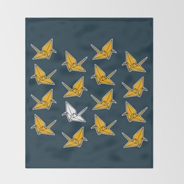 PAPER CRANES NAVY AND YELLOW Throw Blanket