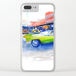 Green car on 14th street Clear iPhone Case