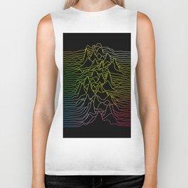 rainbow illustration - sound wave graphic Biker Tank