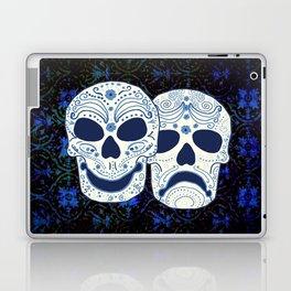 Comedy-Tragedy Sugar Skulls Cyan Laptop & iPad Skin