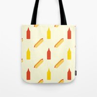 hot dog Tote Bags featuring Hot dog by Will Wild