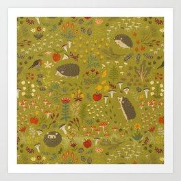 Hedgehog Meadow Art Print