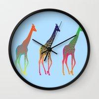 giraffes Wall Clocks featuring Giraffes  by Michelle Jalfon