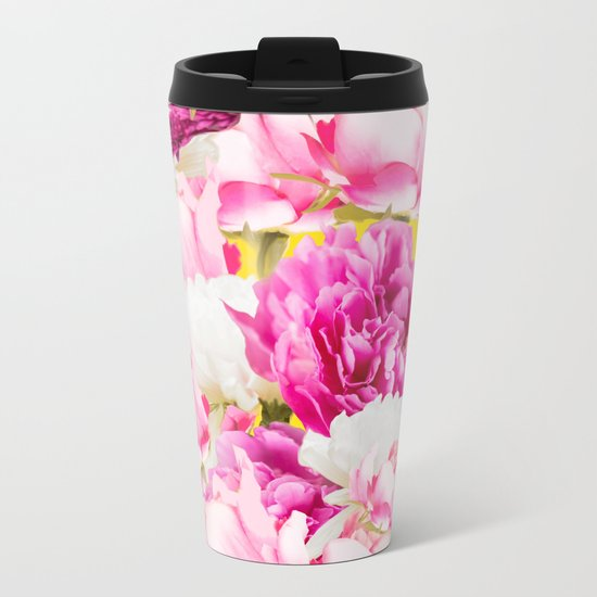 Beauties of nature - large pink flowers on a yellow background Metal Travel Mug