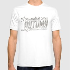 I was made in Autumn (Thank you rainy sundays) White MEDIUM Mens Fitted Tee