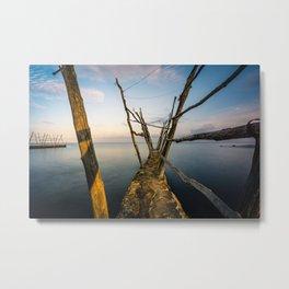 Rustic Pier at the Adriatic Sea Metal Print