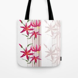 Red lilies on a white striped background . Tote Bag