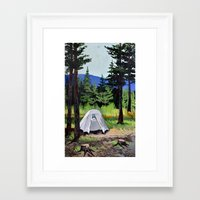 camp Framed Art Prints featuring Camp by Kira Yustak