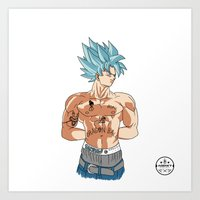 2pac Art Prints featuring Goku Shakur Kakarot//2Pac by ΛDX7