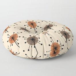 Midcentury Sputnik Starburst Flowers Orange Floor Pillow