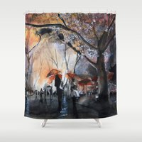 autumn Shower Curtains featuring Autumn rain - watercolor by Nicolas Jolly