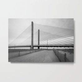 Indian River Bridge, Bethany B&W Metal Print