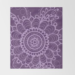 Lavender Dreams Flower Medallion - Medium with Light Outline Throw Blanket