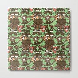 Tiki Tropics - Brown and Green Metal Print