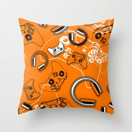 Gamers-Orange Throw Pillow