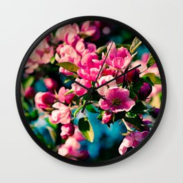 Pink Crab Apple Flowers Wall Clock