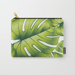 Palm leaves green pattern tropical art decoration Carry-All Pouch