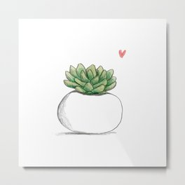 Succulent in Plump White Planter Metal Print